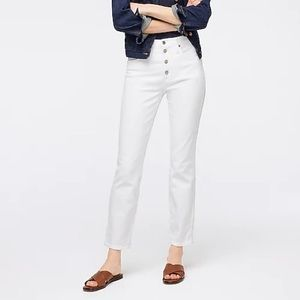 J. Crew White Button Fly High Waist Ankle Jeans